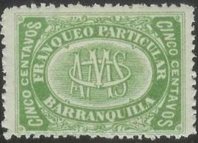 Timbre de la compagnie AMS, à Barranquilla.
