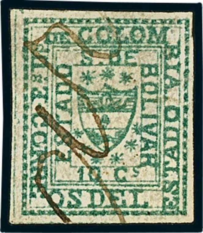 200 euros chez Spink pour ce timbre de Colombie, le plus petit du monde.