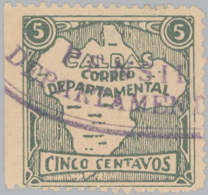 Timbre de la poste départementale de Caldas (Colombie), en 1928.