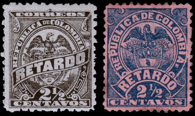 Timbres colombiens de« retard» parus à partir de 1886.