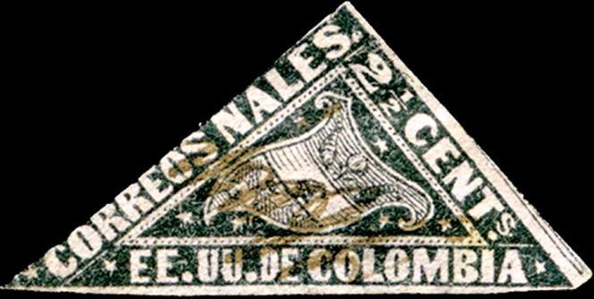 Le premier timbre dont la forme est celle d'un triangle scalène est colombien (1869).