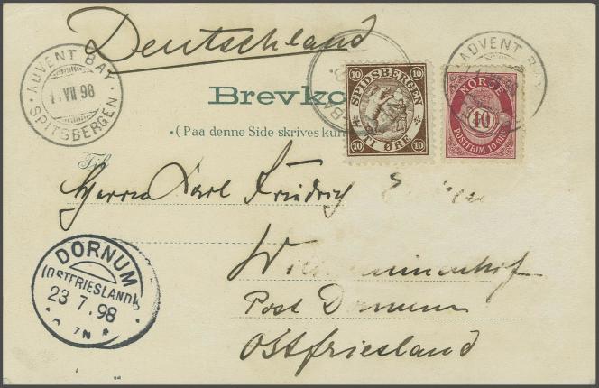 Timbres légendés« Spidsbergen» sur carte postale de 1898, oblitération« Advent Bay Spitzbergen», 240 francs suisses chez Corinphila.