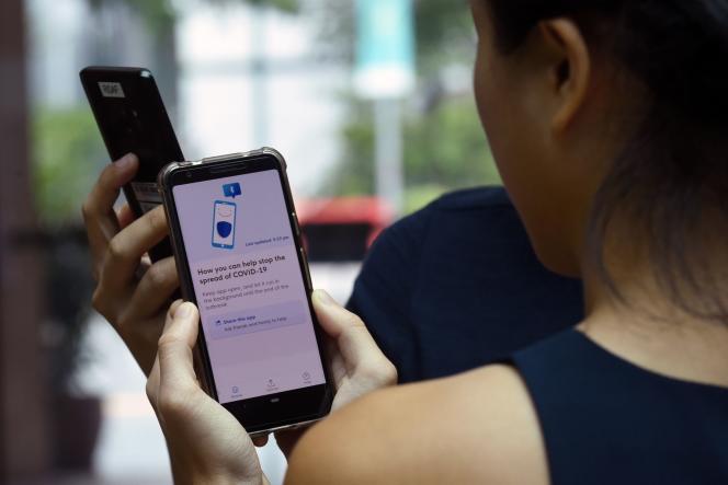 L'application de suiviTraceTogether, utilisée à Singapour, le 20 mars 2020.