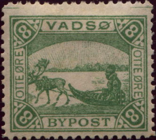Vignette de la poste locale de Vadso (Norvège) à la fin du XIXe siècle.