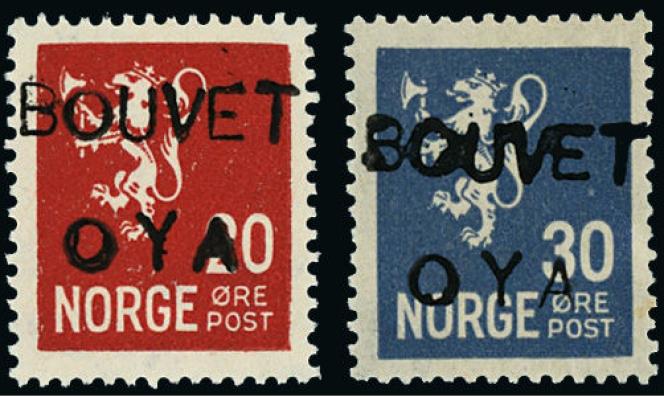 « Bouvet Oya» (île de Bouvet), timbres édités en 1934.