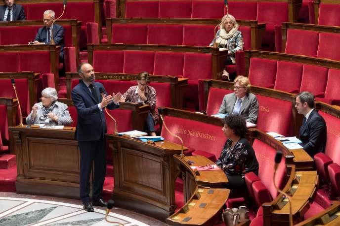 Le premier ministre, Edouard Philippe, à l'Assemblée nationale,lors de la session du 21 avril des questions au gouvernement.