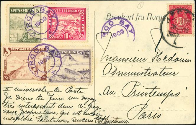 Carte postale avec timbres du Spitzberg pour Paris, 1909, affranchissement norvégien, 160 livres sterling chez Grosvenor (2014).