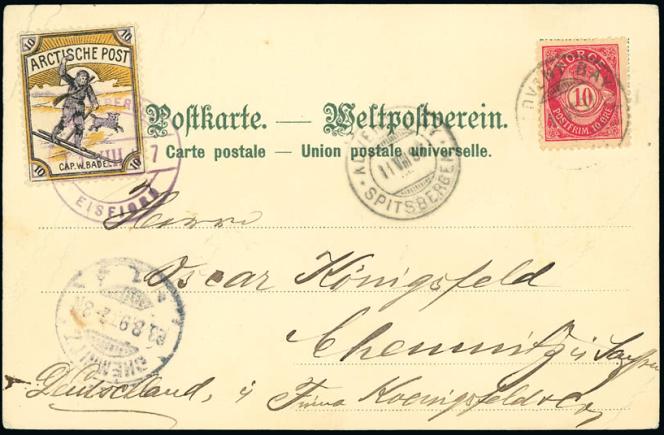 Prix de 120 livres pour cette carte postale pour l'Allemagne avec timbres de Norvège et de l'Arctische Post oblitérés en 1897 au Spitzberg (Grosvenor).