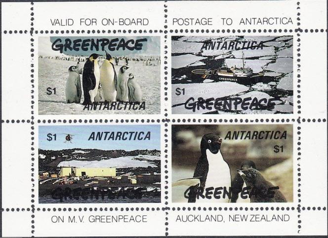 Vignettes sans valeur d'affranchissement aux« couleurs» de Greenpeace.
