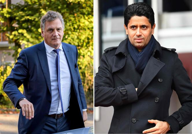 L'ancien secrétaire général de la FIFA, Jérôme Valcke (à gauche) et le président qatari du PSG Nasser Al-Khelaïfi (à droite), en 2017.