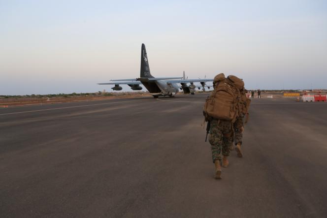 Des marines sur la base américaine du camp Lemonnier à Djibouti, le 24 décembre 2013.