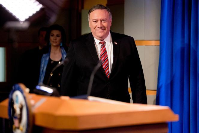 Le secrétaire d'Etat américain, Mike Pompeo, le 29 avril, au département d'Etat, à Washington.