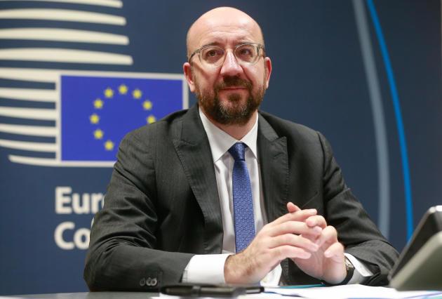 Le président du Conseil européenCharles Michel,lors d'une conférence téléphonique avec des responsables européens, à Bruxelles, le 10 mars.