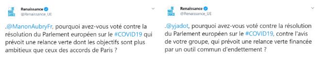 Tweets du groupe macroniste Renaissance accusant les eurodéputés Manon Aubry (LFI) et Yannick Jadot (EELV) d'avoir voté contre le plan de relance européen financé par les« recovery bonds».
