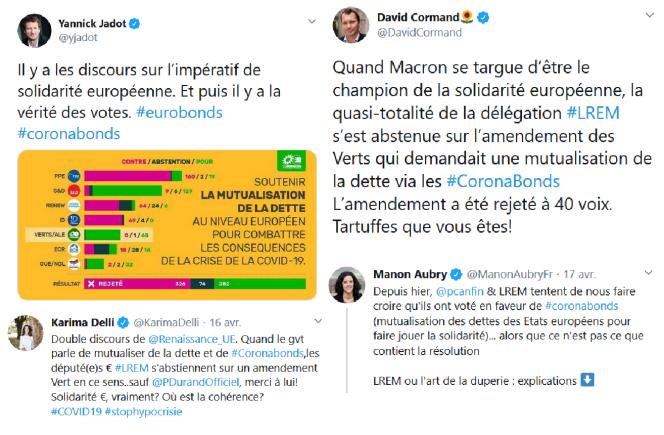 Tweets des eurodéputés Yannick Jadot (EELV), Karima Delli (EELV), David Cormand (EELV) et Manon Aubry (LFI) dénonçant le double discours des macronistes sur la mutualisation de la dette.