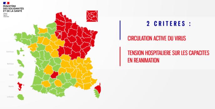 La carte de l'épidémie par département, dévoilée jeudi 30 avril, combinant deux des trois indicateurs pris en comptepour moduler le déconfinement des populations en fonction des territoires.
