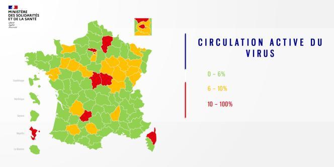 Carte diffusée jeudi 30 avril par le gouvernement, représentant l'intensité de la circulation du virus dans chaque département.