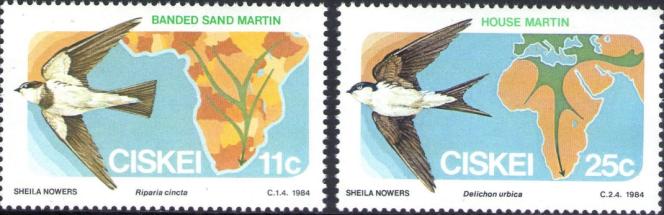 Oiseaux migrateurs, série parue au Ciskei le 17 août 1984.
