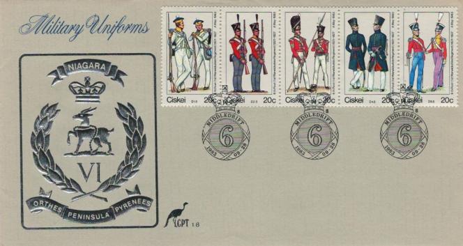 Uniformes militaires, série parue le 28 septembre 1983 au Ciskei.