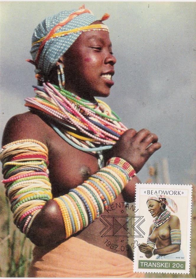 Le perlage au Transkei, timbre de 1987.