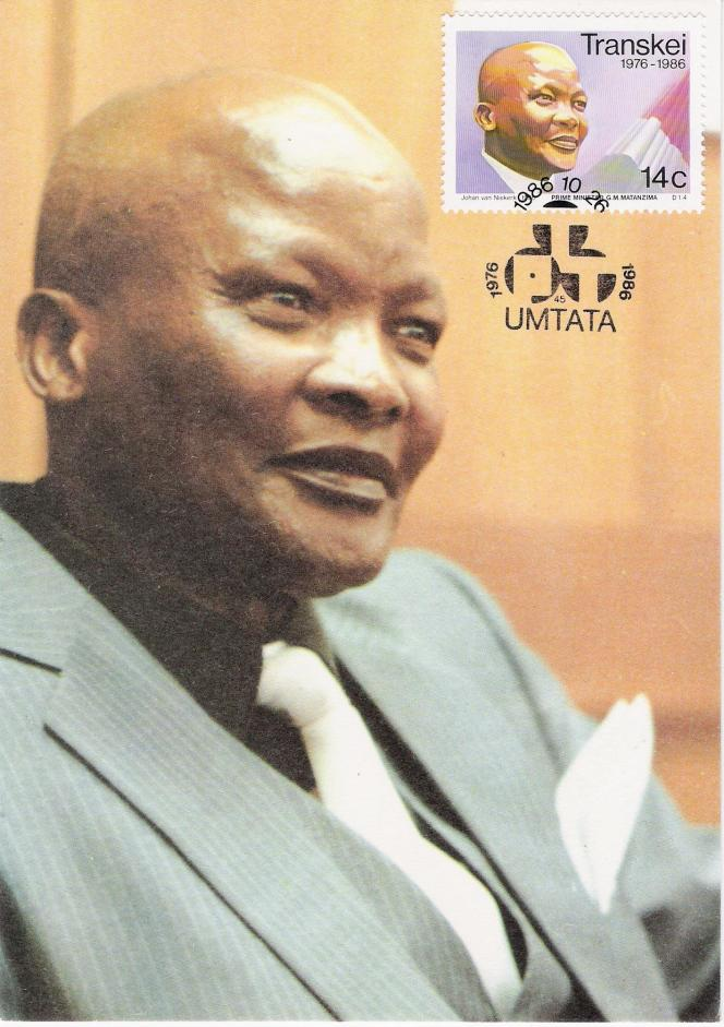 Carte-maximum avec timbre à l'effigie du premier ministre du Transkei GM Matanzima, paru en 1986.