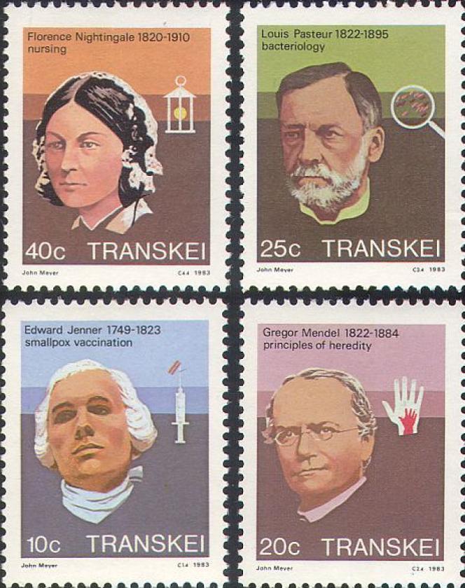 L'histoire de la médecine vue par la poste du Transkei, avec des timbres sur Pasteur, jenner, Mendel et Florence Nightingale.