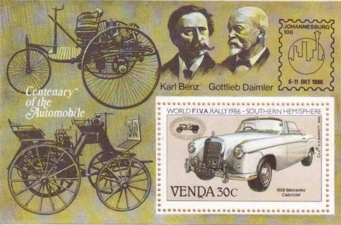 Bloc-feuillet sur le centenaire de l'automobile, Karl Benz et Gottlieb Daimler, Venda, 1986.