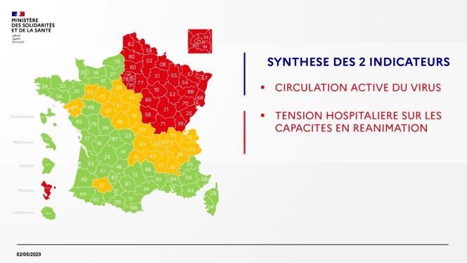 Carte présentée par le gouvernement, samedi 2 mai, sur l'état de l'épidémie en France par département, selon deux critères.