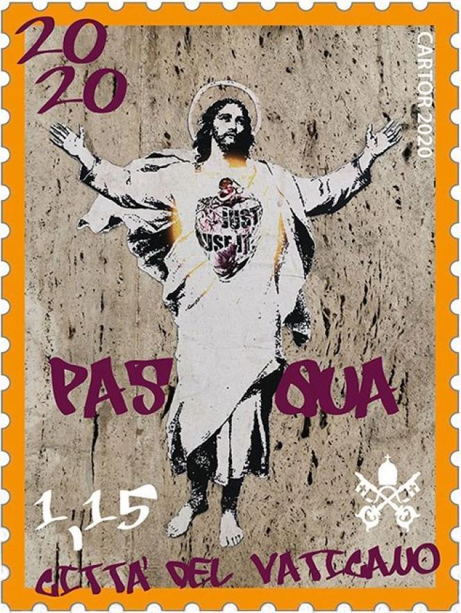 Timbre du Vatican à 1,15 euro, créé d'après une oeuvre d'Alessia Babrow, en vente depuis el 14 février.