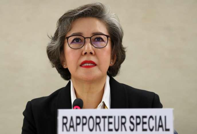 La rapporteure spéciale sur la situation des droits de l'homme en Birmanie, Lee Yanghee, présente son rapport, à Genève, le 11 mars 2019.