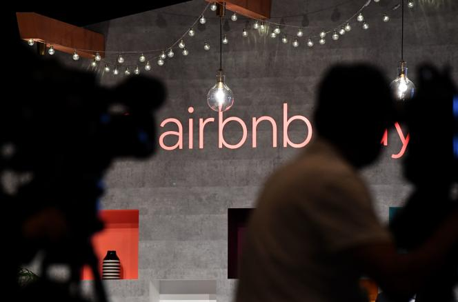 Conférence de presse de la société Airbnb, à Tokyo, le 13 juin 2018.