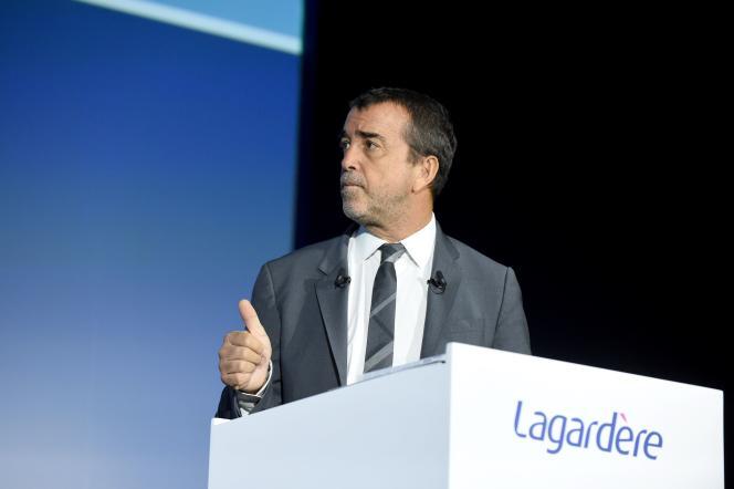 Arnaud Lagardère, lors de l'assemblée générale du groupe, à Paris, le 10 mai 2019.