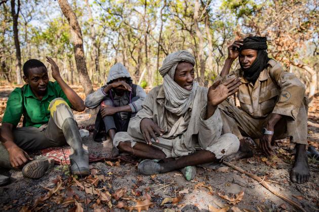 Zacharia, un éleveur venu du Darfour faire pâturer illégalement son bétail dans la réserve de Chinko, négocie avec un garde du parc, le 3 mars.