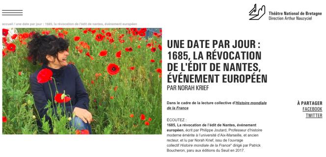 Une page du projet sur l'«Histoire mondiale de la France».