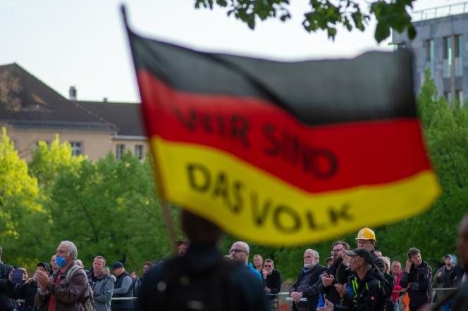 Manifestation des membres de l'AfD, à Magdebourg en Saxe-Anhalt,29 avril.