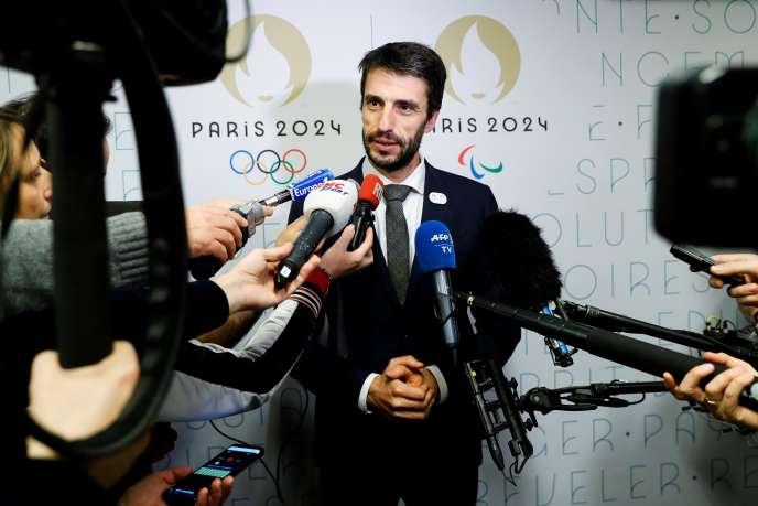 Tony Estanguet, président du Comité d'organisation des Jeux olympiques de Paris 2024, lors d'une conférence de presse à Paris, en décembre 2019.