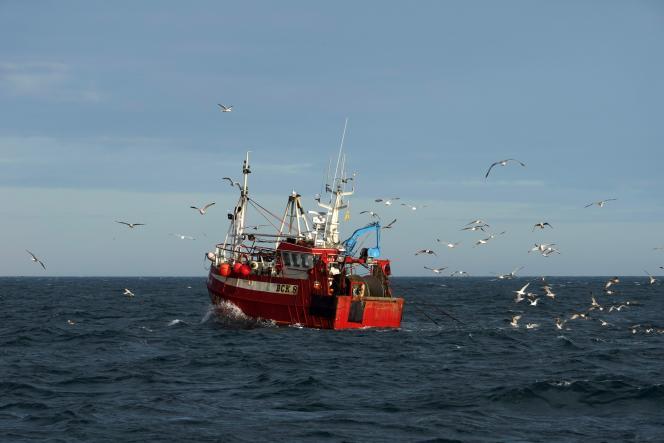 Un chalutier dans la mer du Nord, au nord de l'Angleterre,le 21 janvier 2020.