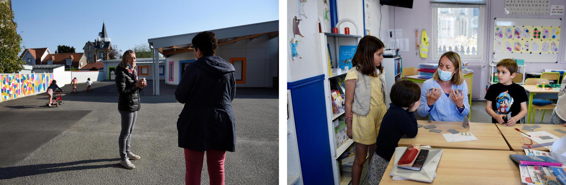 Dans la cour, Isabelle et la directrice restent éloignées. Dans la salle de classe, il est plus difficile de faire garder la distance aux enfants.