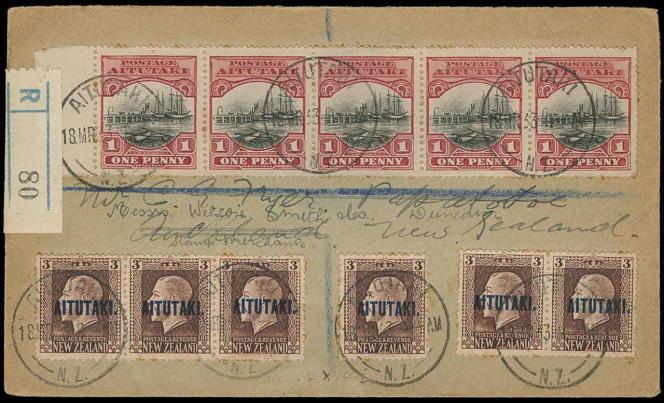Lettre recommandée (1933) d'Aitutaki pour la Nouvelle-Zélande, 425 dollars chez Colonial Stamp Company, aux Etats-Unis.