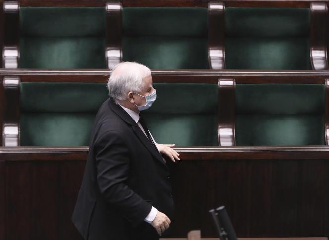 Lechef de la majorité ultraconservatrice du PiS Jaroslaw Kaczynski, au Parlement polonais, le 7 mai.