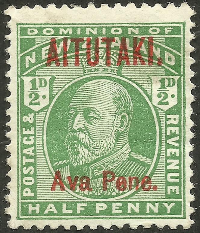 Timbre du Dominion de Nouvelle-Zélande surchargé« Aitutaki» (1911).
