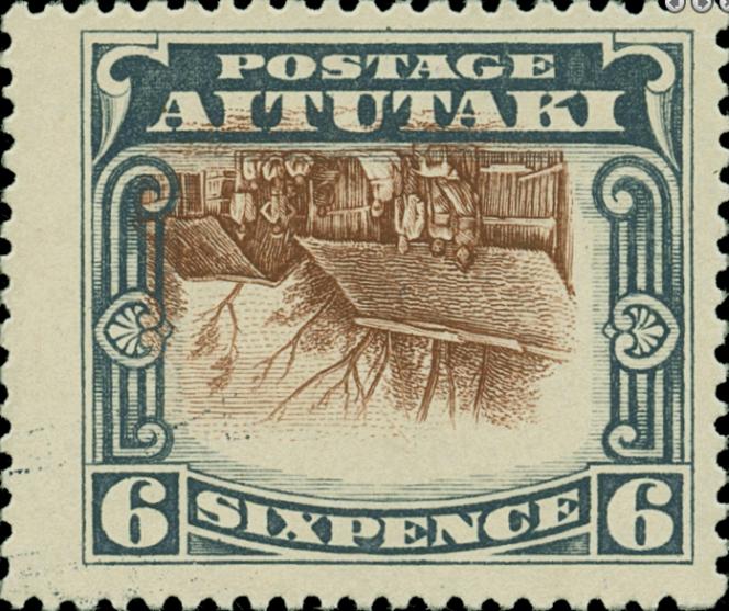 Compter 525 dollars pour ce timbre au centre renversé d'Aitutaki chez Colonial Stamp Company.