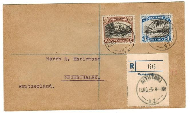Lettre recommandée d'Aitutaki pour la Suisse de 1935, avec des timbres de Cook, 90 livres sterling chez Steve Drewett.
