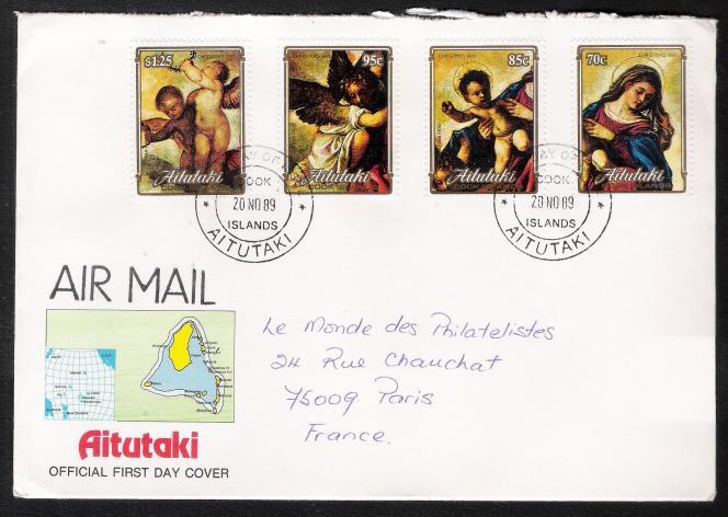 Enveloppe« premier jour» d'émission (« First day of issue»), tableaux du Titien, Aitutaki, 20 novembre 1989.