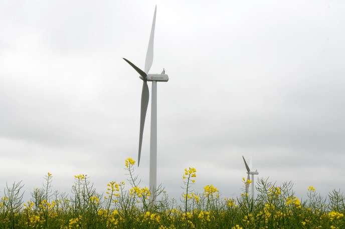 Une éolienne dans un champ de colza, à Magny (Eure-et-Loir),le 4 mai.