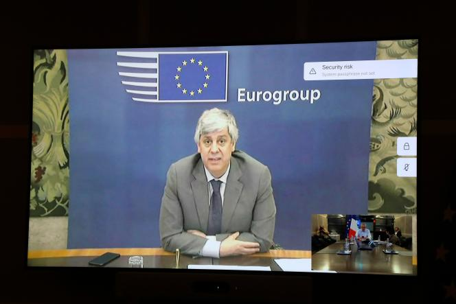 Mario Centeno lors de l'Eurogroupe du9 avril 2020.