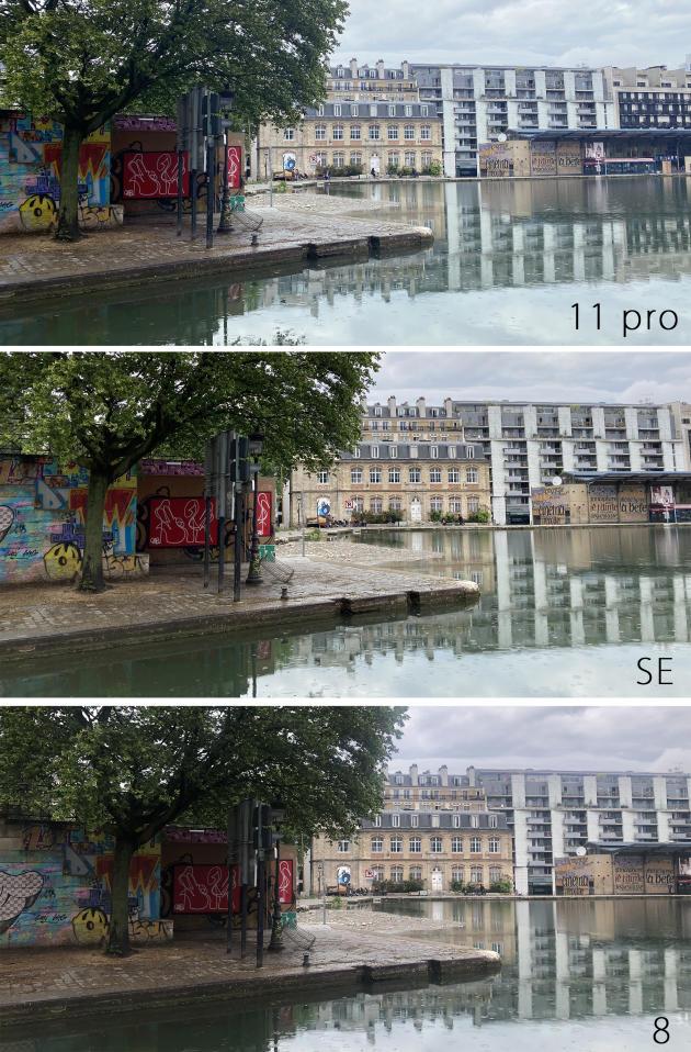 Les photos de l'iPhone 8 sont plus sombres que celles du SE. Au niveau du ciel, on note aussi un petit problème de contraste qui revient souvent.