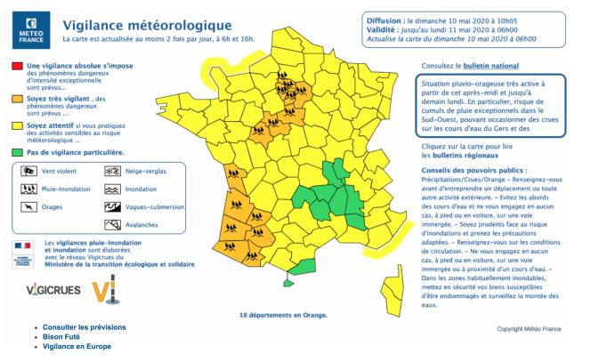 La carte mise à jour par Météo-France dimanche matin.