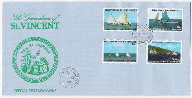 Enveloppe« premier jour» de 1988, oblitérée à Bequia.