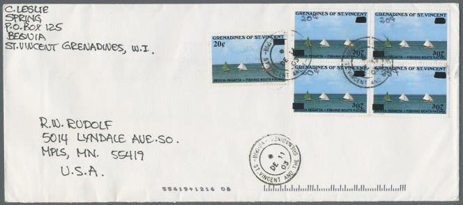 Enveloppe de 2003 pour les Etats-Unis avec des timbres des Grenadines de Saint-Vincent comportant une erreur d'impression (surcharge renversée, et correction au stylo), oblitération de Bequia, estimation 1000 euros chezChristoph Gärtner.